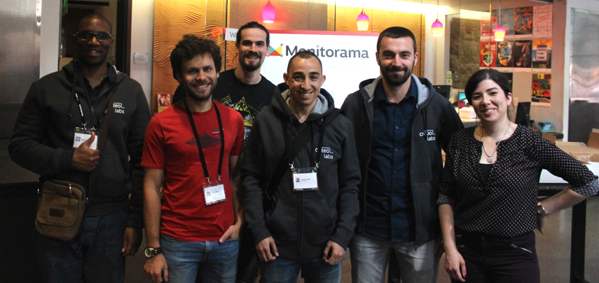 The Criteo SRE folks attending the Monitorama event this year ! From left to right: Michel Molongo, Corentin Chary, Remi Guillard, Charles Judith, Victor Demonchy, Meriam Lachkar.